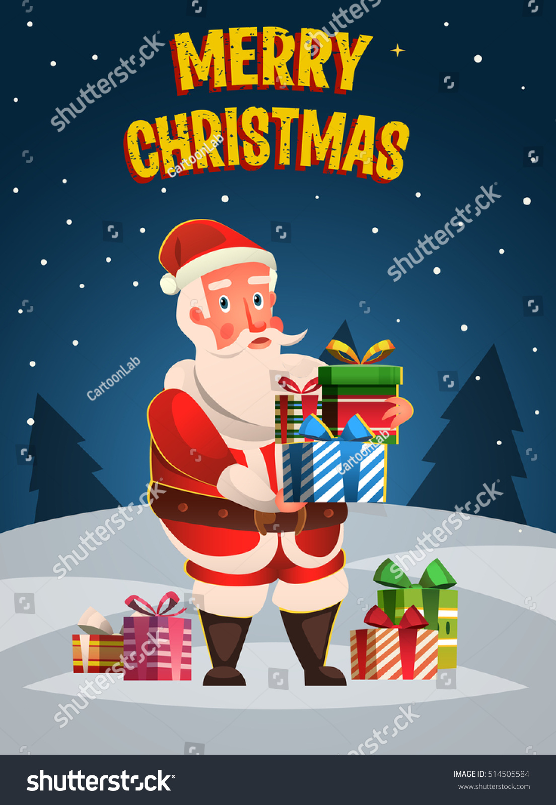 funny santa claus merry christmas poster new year poster banner post