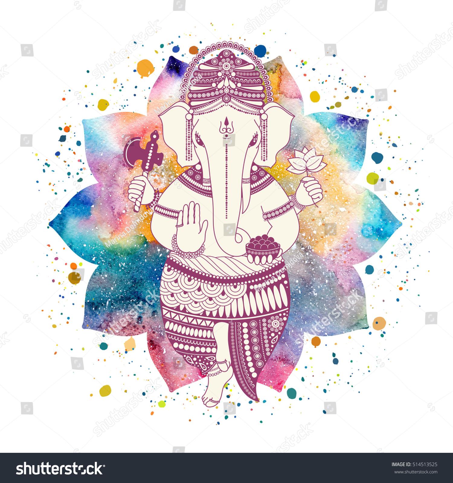 Ganesha Ganapati Indian Deity Hindu On Stock Illustration 514513525
