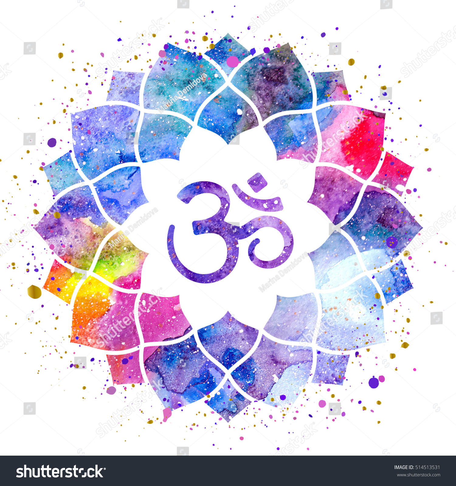 Om Sign Lotus Flower Rainbow Watercolor Stock Illustration 514513531
