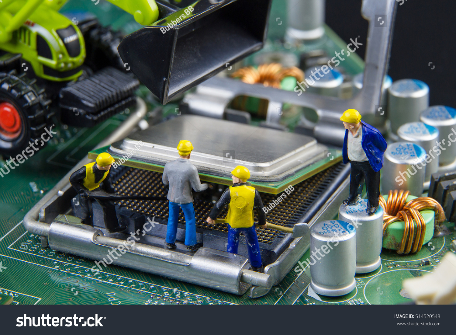 Royalty Free Tiny Toys Team Of Engineers Repairing 514520548 Stock Computer Circuit Main Board Photography Image Mother Computercomputer Equipmentcomputer Repair Concept Photo