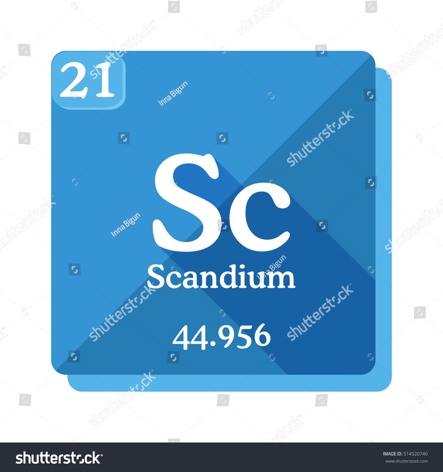 Scandium sc element periodic table flat stock vector 514520740 scandium sc element of the periodic table flat icon with long shadow gamestrikefo Images