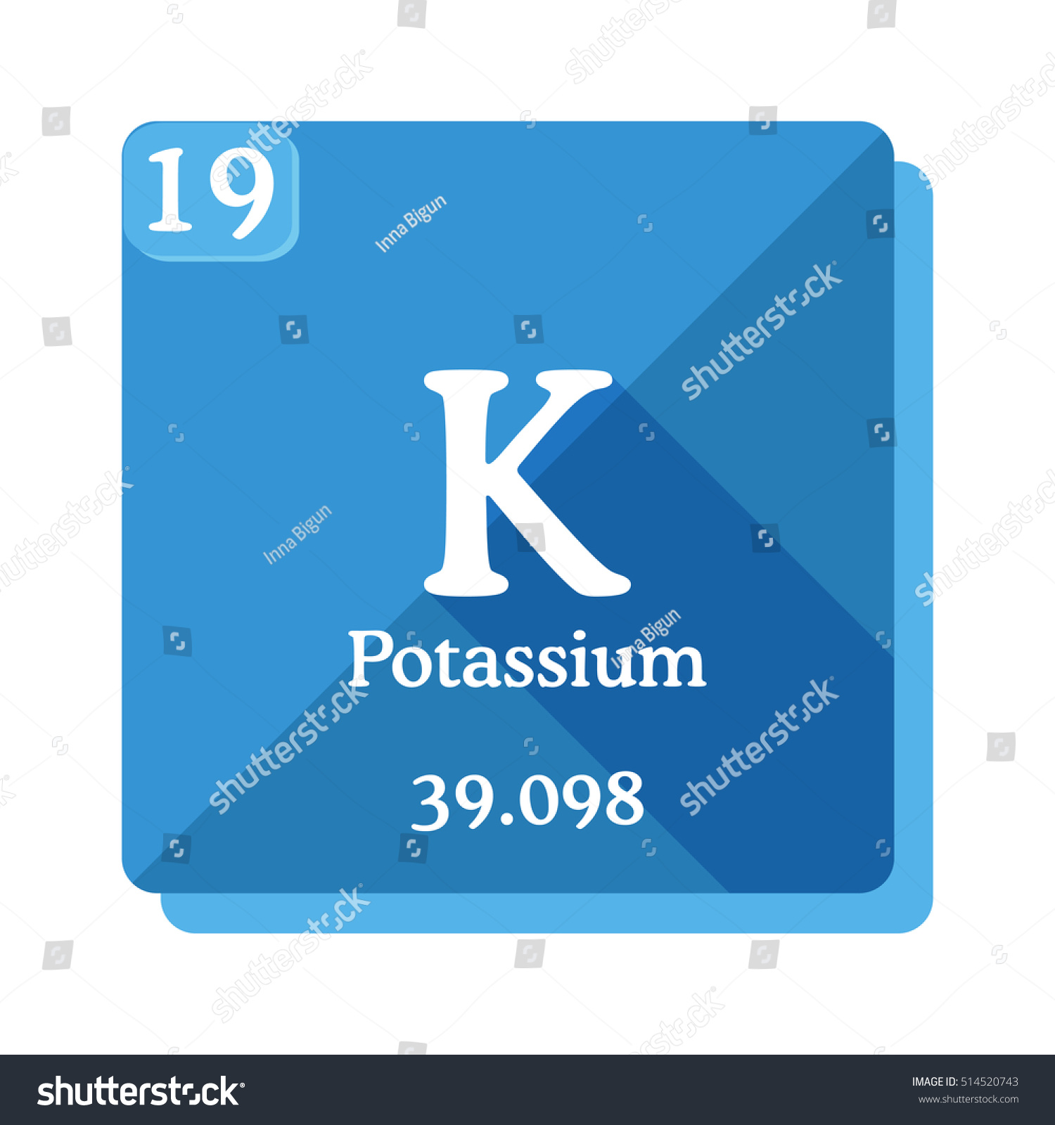 Potassium k element periodic table flat stock vector 514520743 potassium k element of the periodic table flat icon with long shadow urtaz Gallery