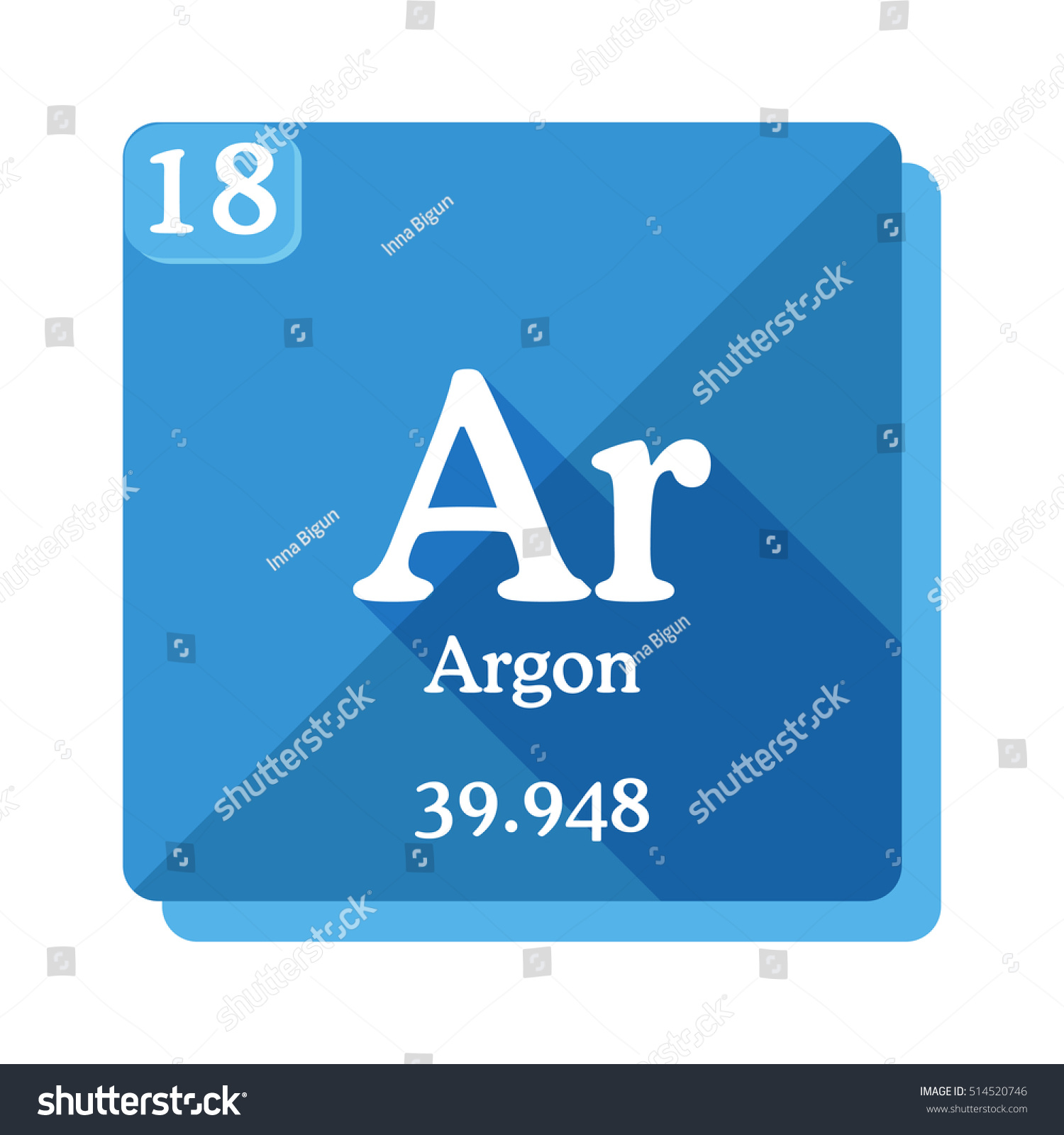 Argon ar element periodic table flat stock vector 514520746 argon ar element of the periodic table flat icon with long shadow gamestrikefo Choice Image