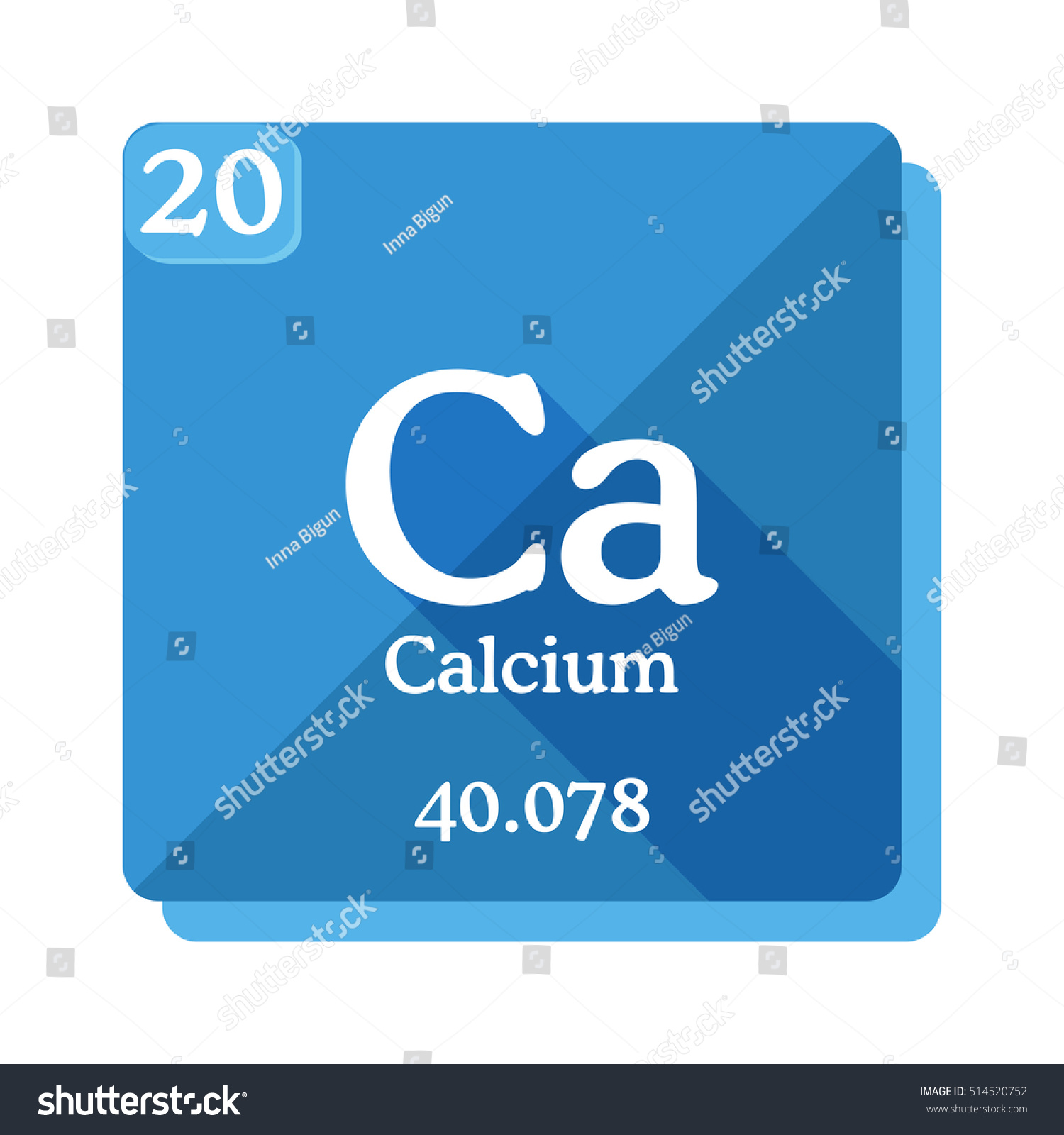 Calcium ca element periodic table flat stock vector 514520752 calcium ca element of the periodic table flat icon with long shadow gamestrikefo Images