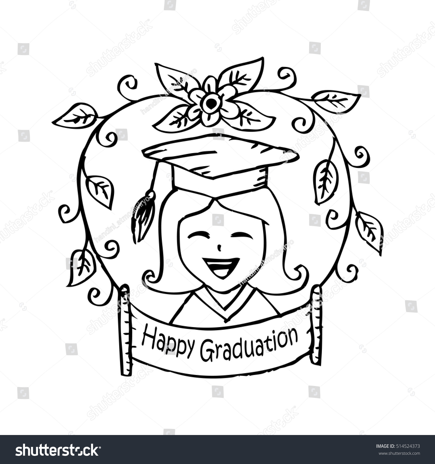 Happy Graduation Greeting Card Cute Girl Stock Vector 514524373 ...