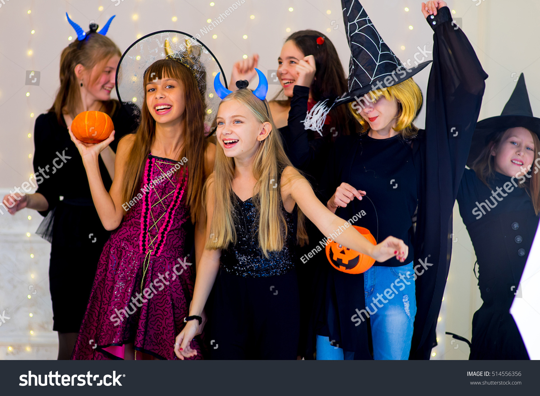 Happy Group Teenagers Dance Halloween Costumes Stock Photo ...
