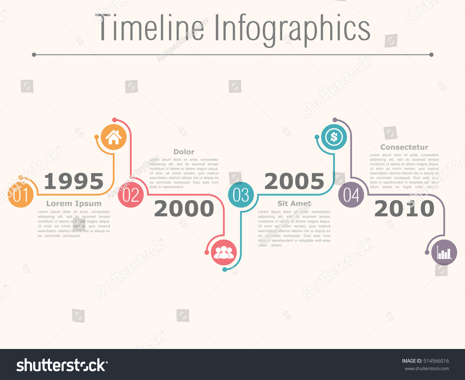 Timeline Infographics Design Template Numbers Icons Stock