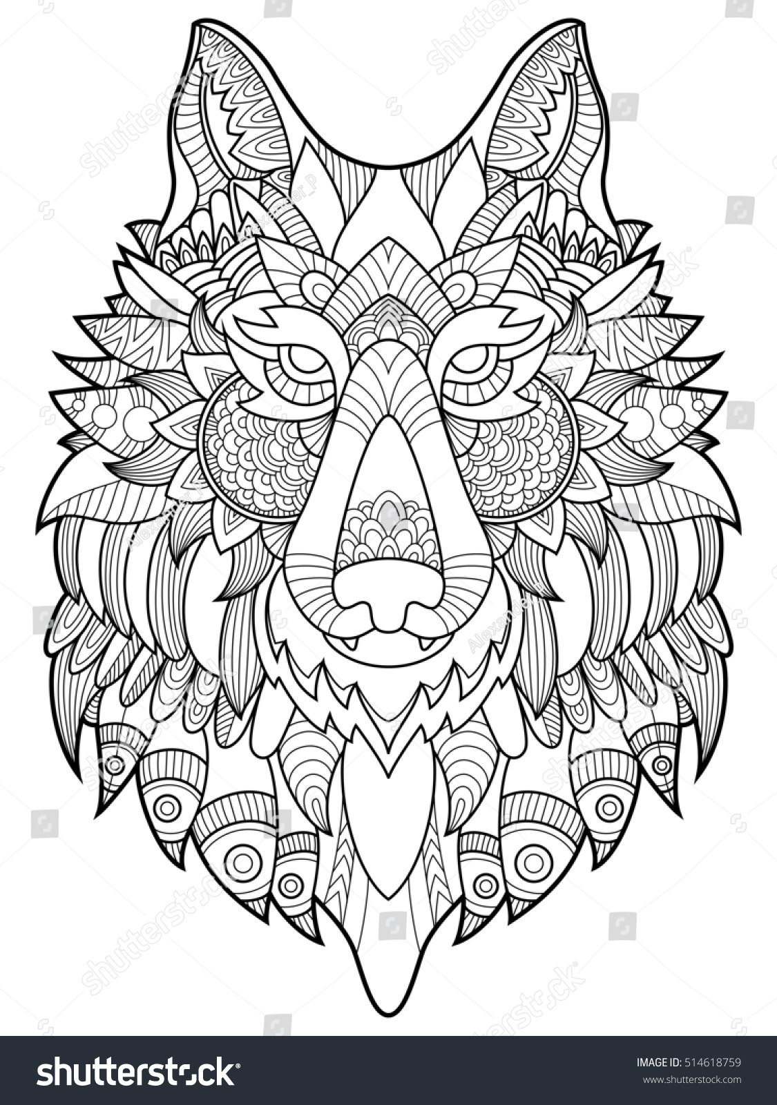 Anti stress colouring book asda - Wolf Coloring Book For Adults Raster Illustration Anti Stress Coloring For Adult Tattoo