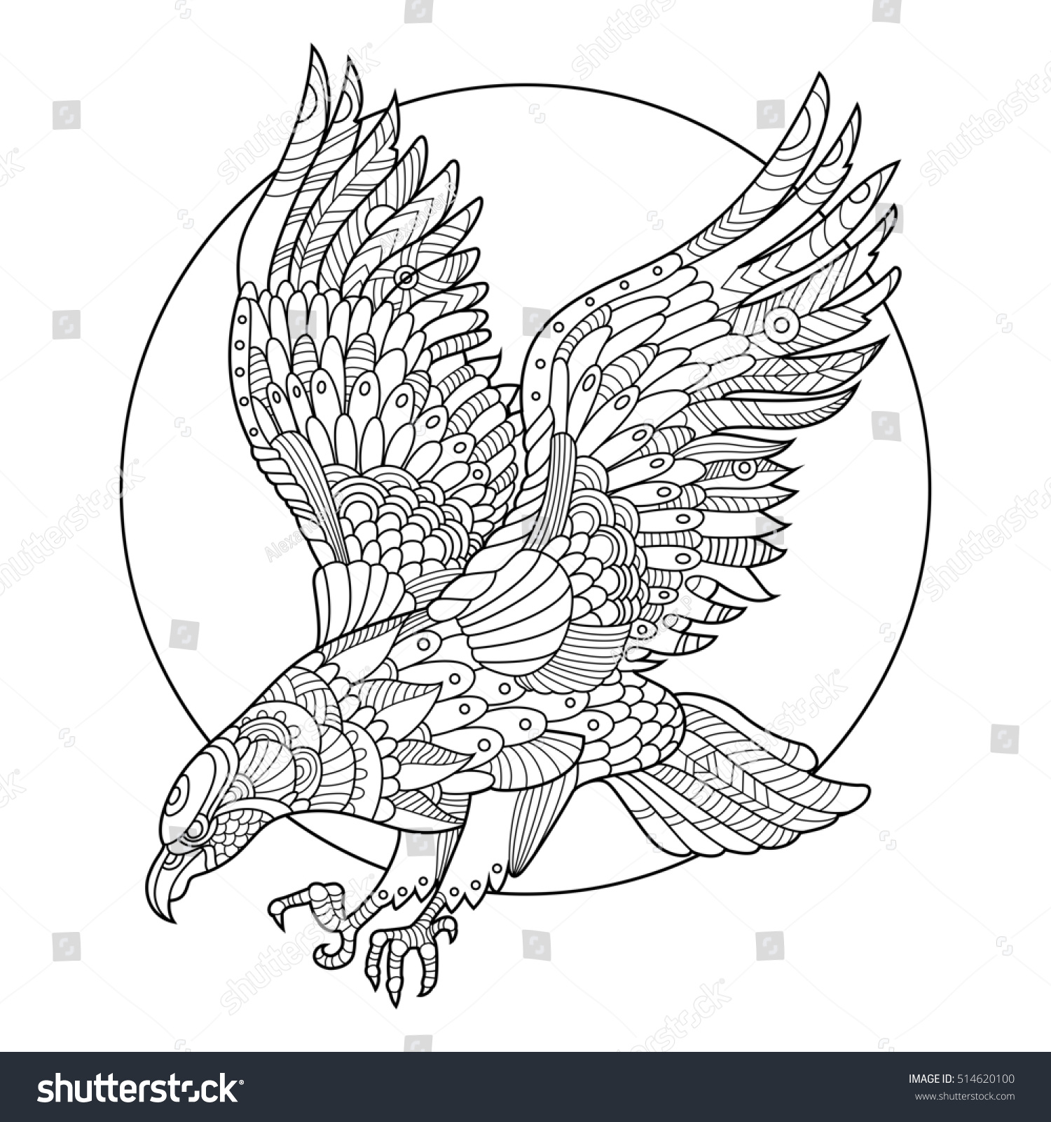 Eagle bird coloring book for adults raster illustration. Anti-stress ...