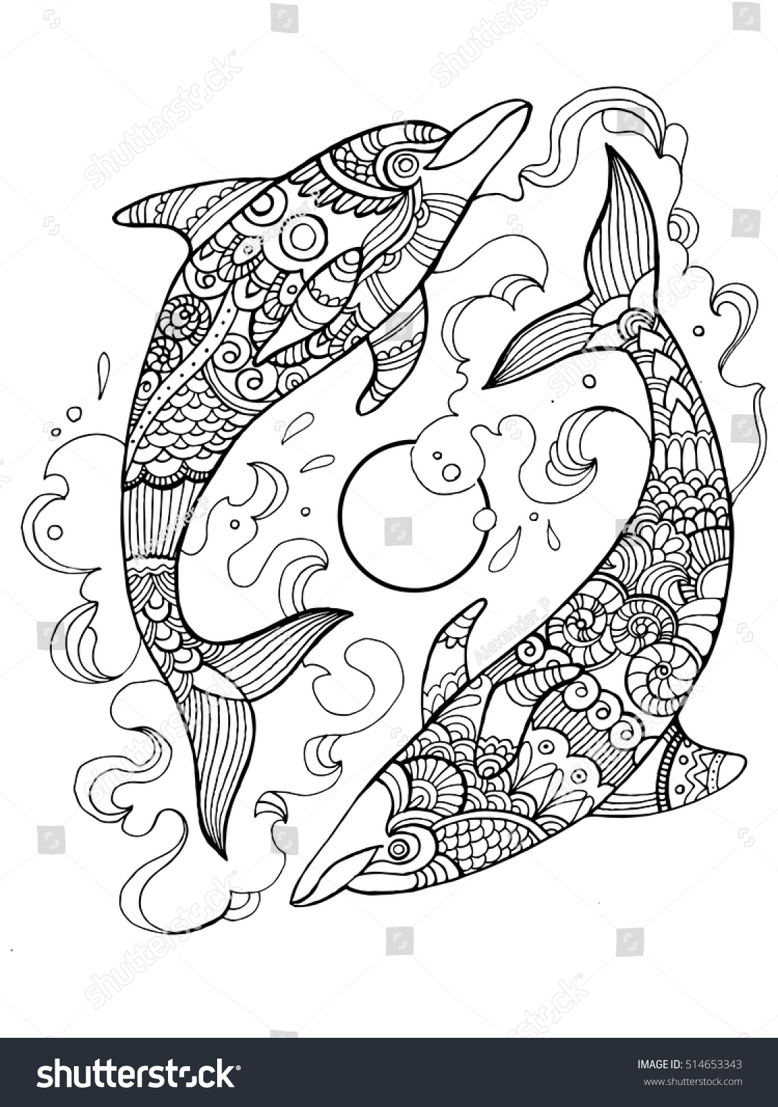 Royalty-free Dolphin coloring book for adults vector… #514653343 ...