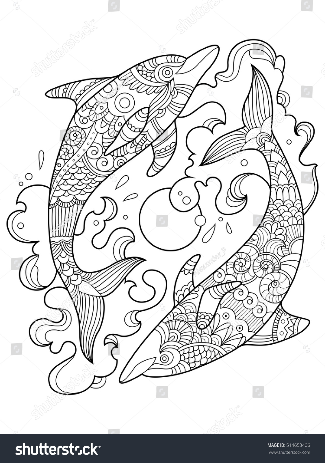 Dolphin Coloring Book Adults Vector Illustration Stock Vector ...