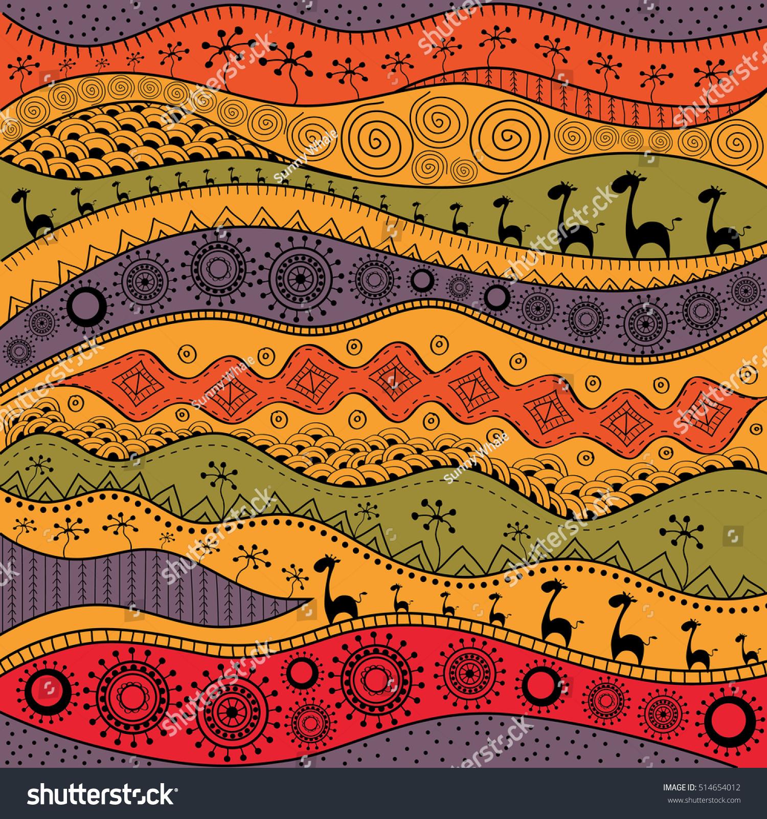 部族の背景にアフリカの手描きの民族柄 壁紙 ウェブページなどに使用できます ベクターイラスト のベクター画像素材 ロイヤリティフリー
