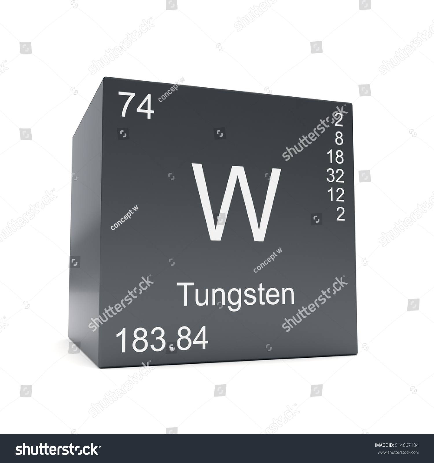 Tungsten Chemical Element Symbol Periodic Table Stock Illustration