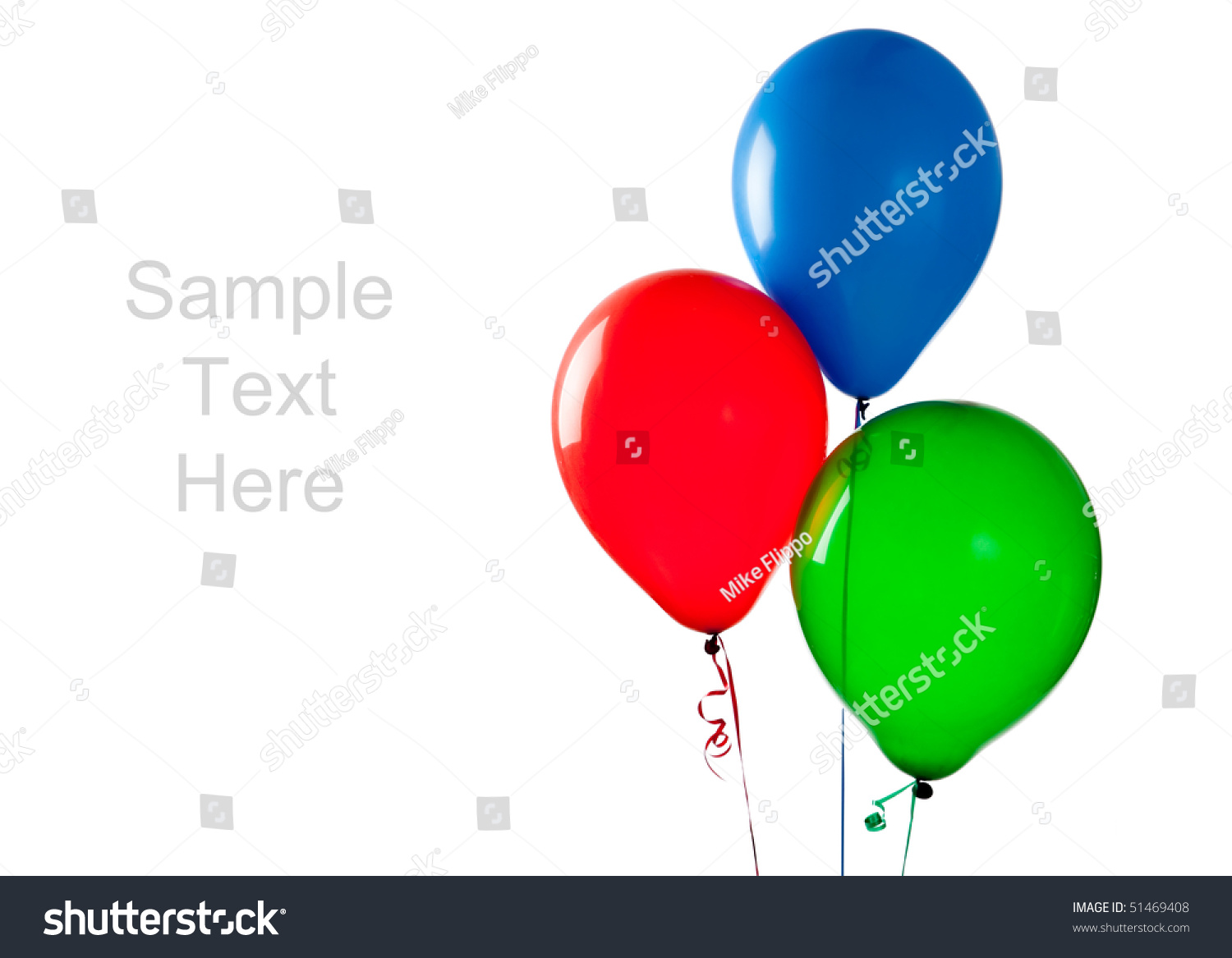 Green and blue balloons - Red Blue And Green Balloons On A White Background With Copy Space
