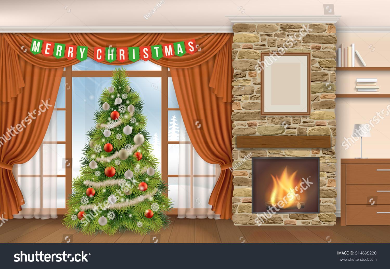christmas interior fireplace fir tree winter stock vector