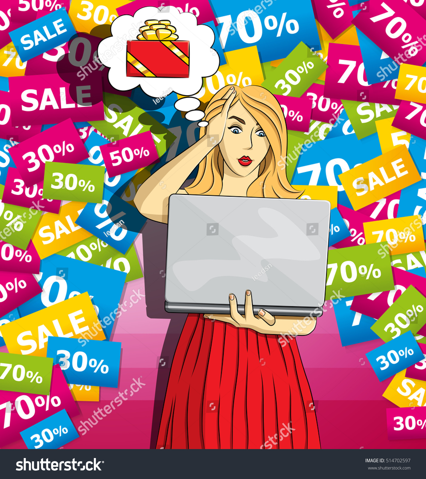 Vector Woman Buy Christmas Gifts Online Stock Vector (Royalty Free ...
