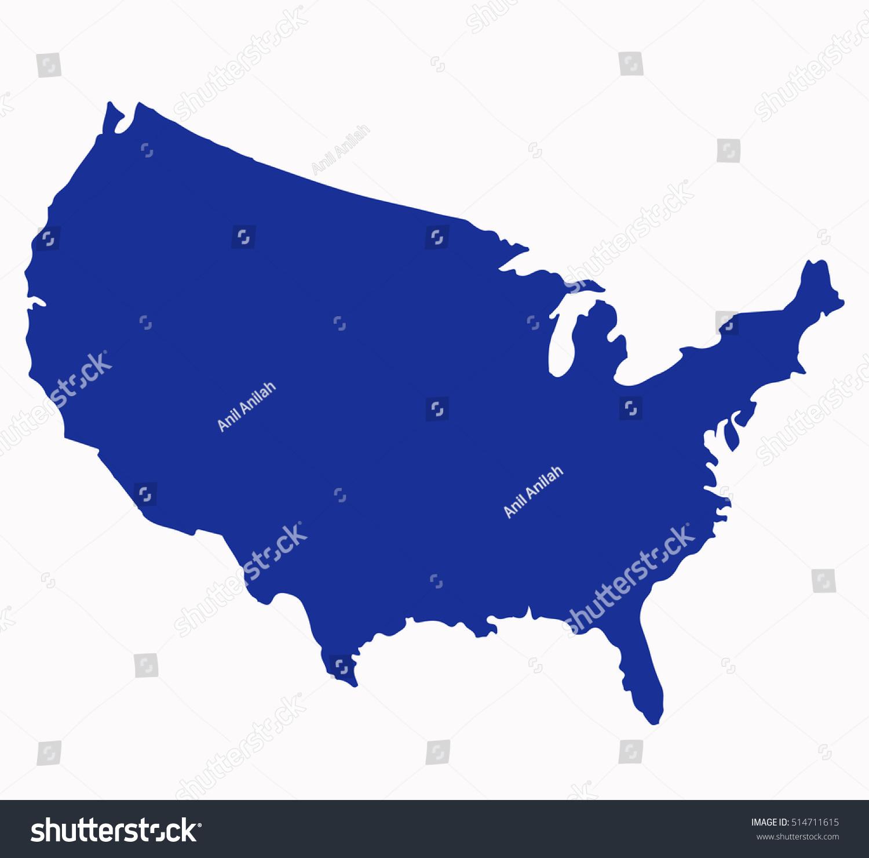Usa Map Vector Blue Color Stock Vector 514711615 Shutterstock