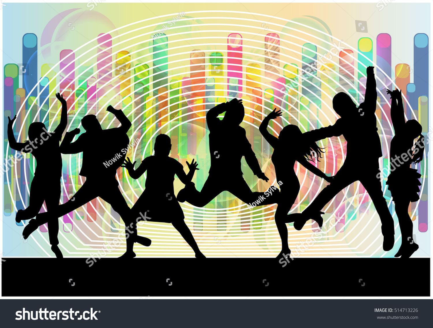 Silhouette Dance Music Abstract Background