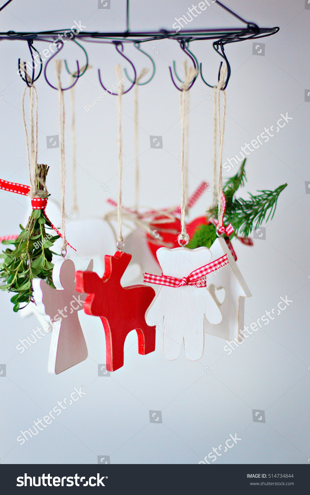 Handmade Hanging Wooden Ornaments Greens Red Stock Photo Edit Now 514734844