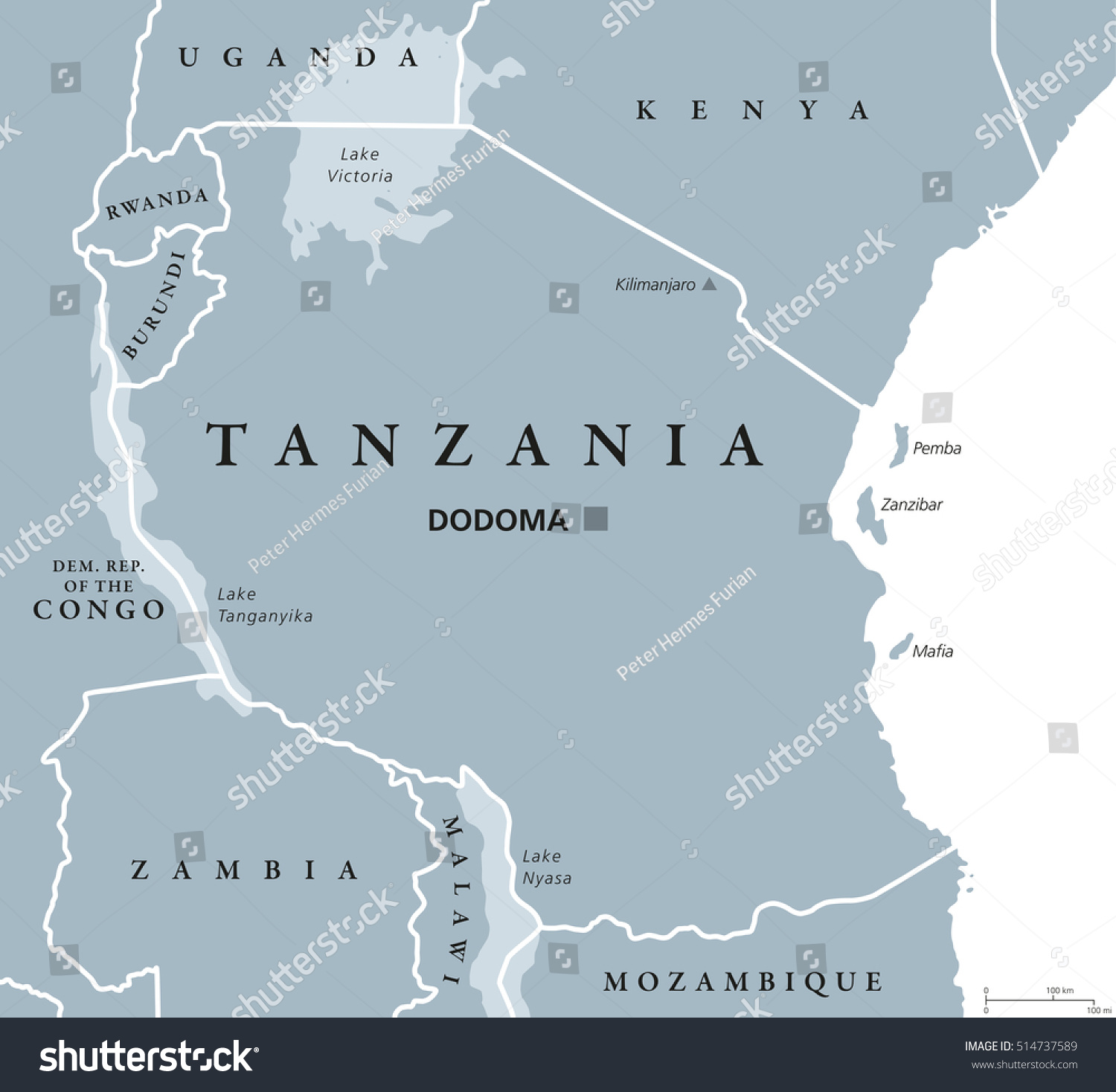 Tanzania Political Map Capital Dodoma National Stock Vector