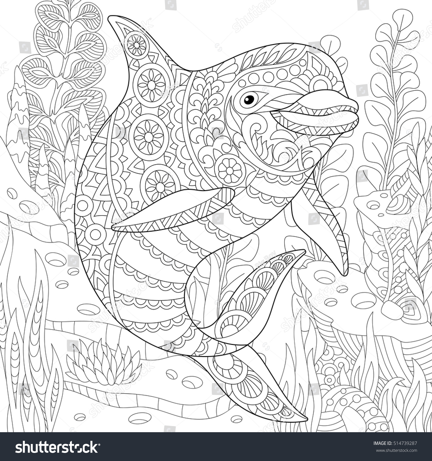 stylized cute dolphin swimming among underwater stock vector