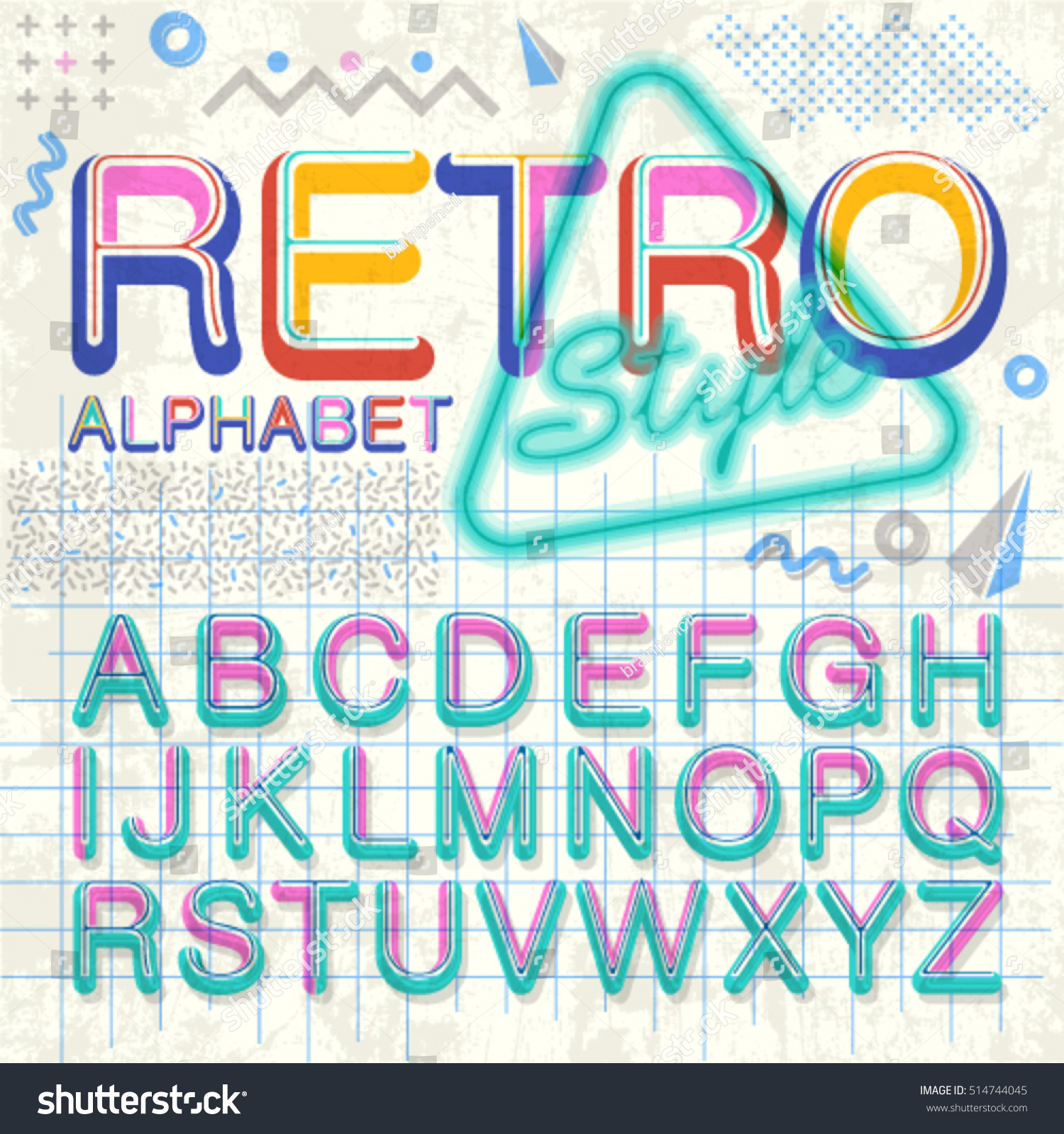 90s poster design - Vintage Alphabet Vector 80 S 90 S Old Style Graphic Poster Set