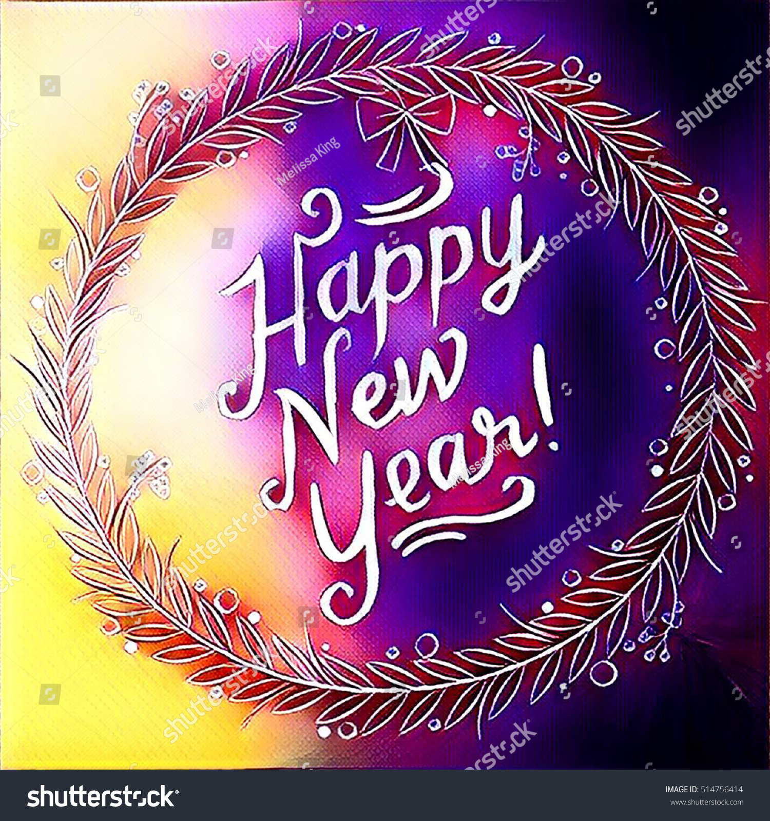 digital painting happy new year sign stock illustration 514756414
