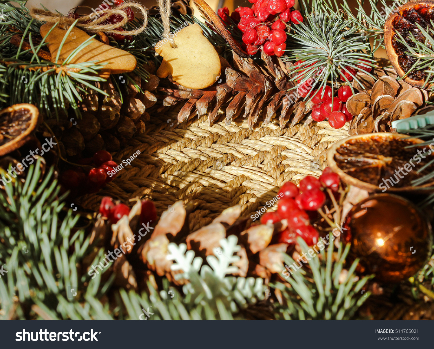 Christmas Wreath Toys Biscuits Stock Photo Edit Now 514765021