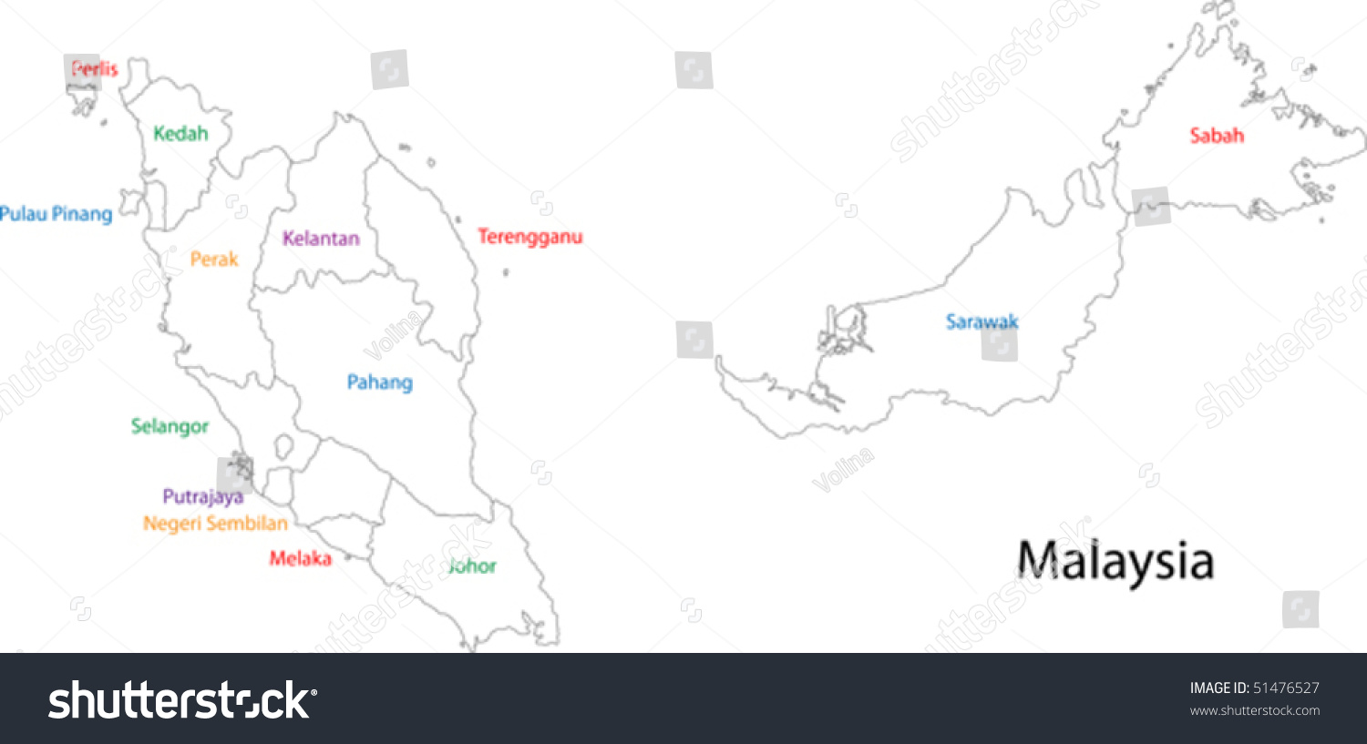 Outline Malaysia Map States Stock Vector 51476527 Shutterstock
