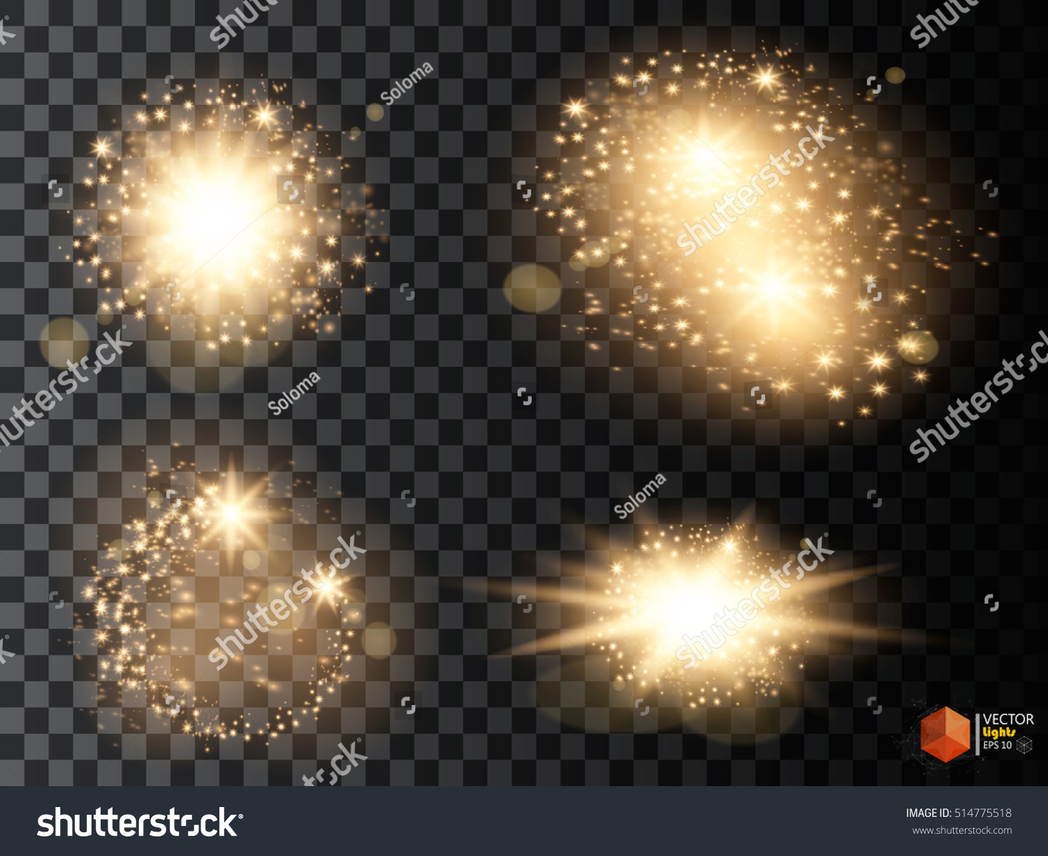 Set of golden glowing lights effects isolated on transparent background Sun flash with rays and spotlight Glow light effect Star burst with sparkles