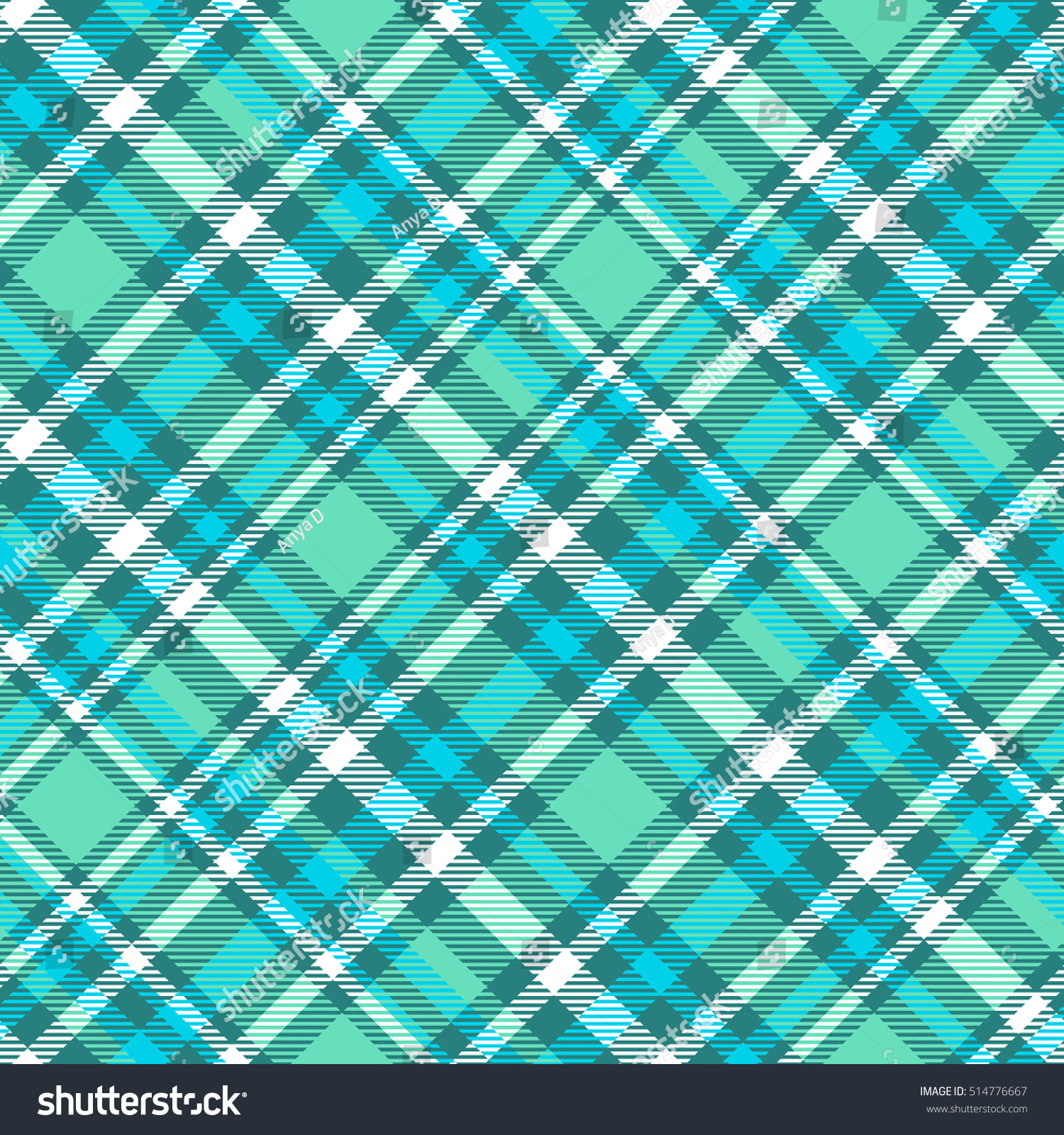 The Texture Of Teal And Turquoise: Seamless Tartan Plaid Pattern Palette Aqua Stock Vector
