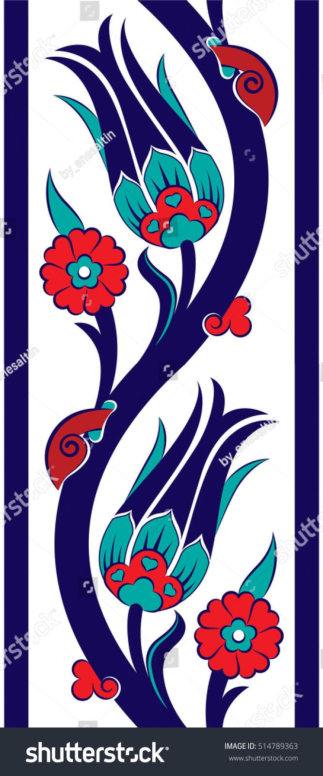 ottoman tile motif tulip bordure design stock vector. Black Bedroom Furniture Sets. Home Design Ideas