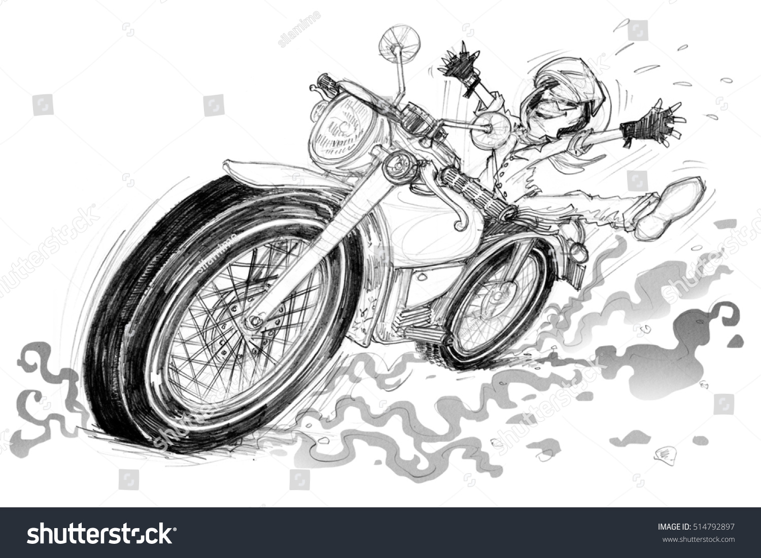 Man Very Happy Riding Vintage Motorcycle Stock