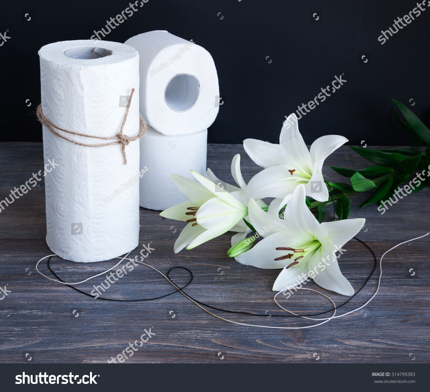 White Toilet Paper Towel Rolls On Stock Photo Royalty Free