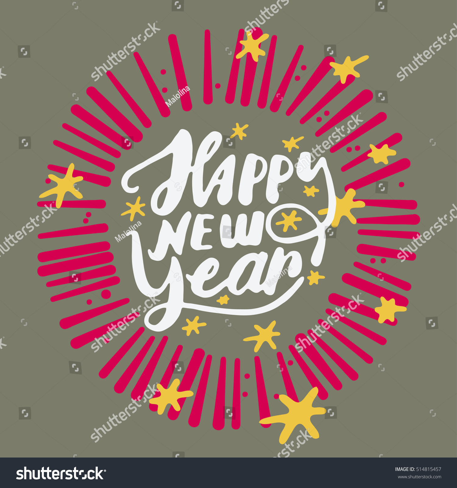 Happy new year greeting card vector stock vector 514815457 happy new year greeting card vector illustration green background yellow starts and red kristyandbryce Choice Image