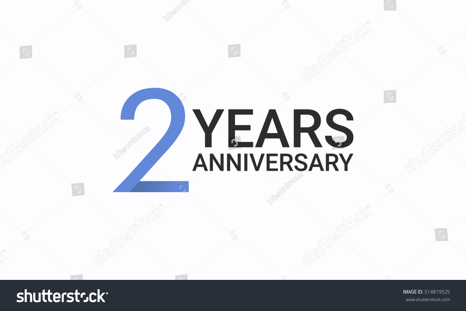 2 Years Anniversary Birthday Symbols Signs Stock Vector Royalty
