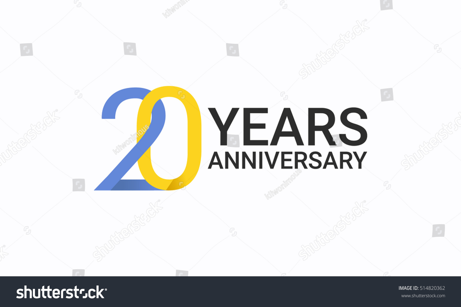 20 Years Anniversary Birthday Symbols Signs Stock Vector Royalty