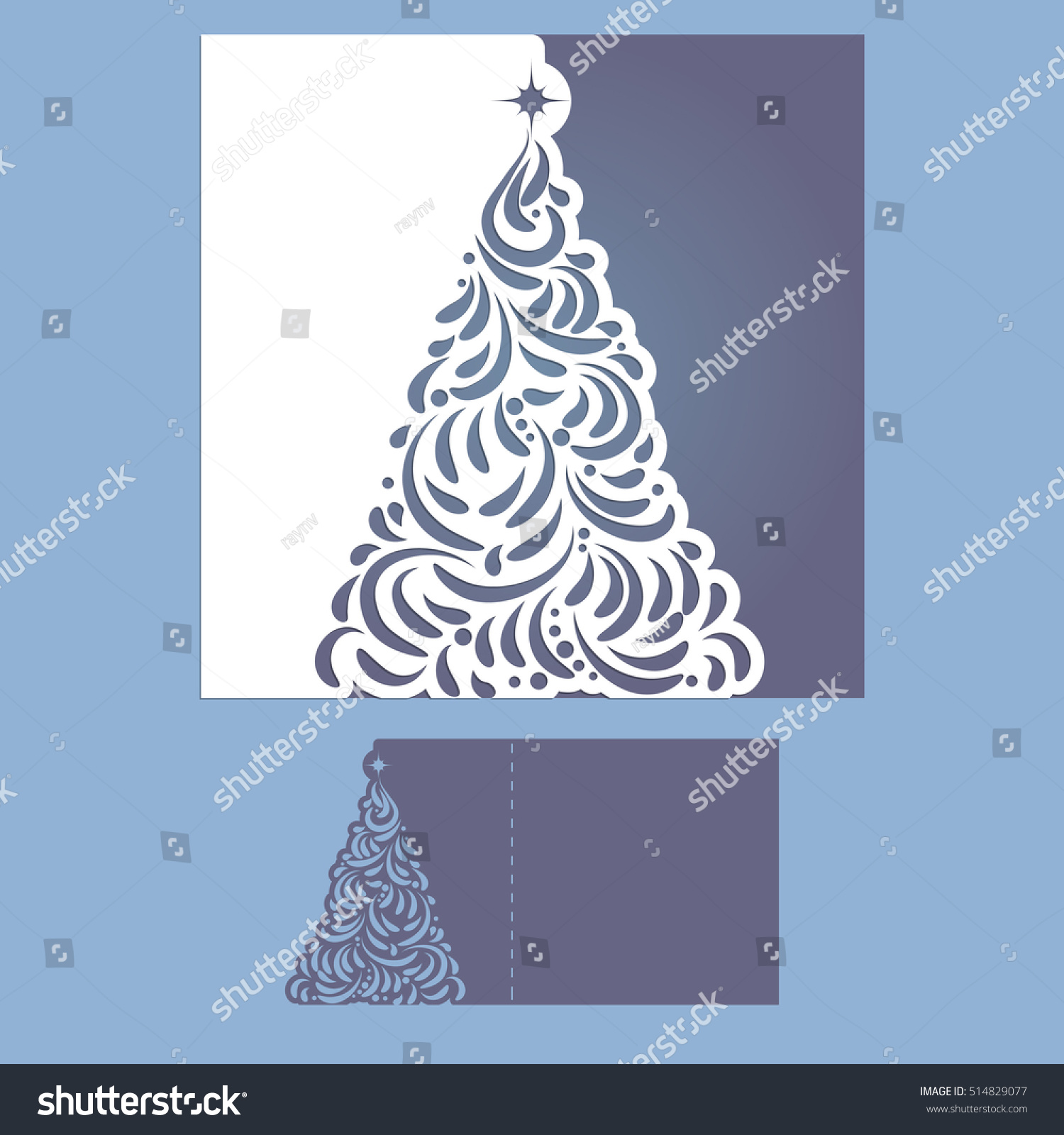 laser cut template christmas cards square stock vector 514829077