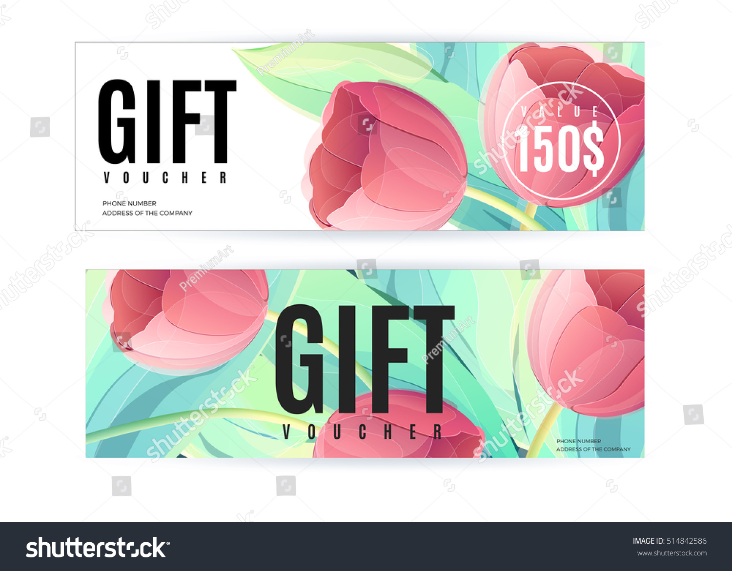 Vector gift voucher template tulip flowers stock vector 514842586 vector gift voucher template with tulip flowers business floral card abstract background concept yadclub Image collections