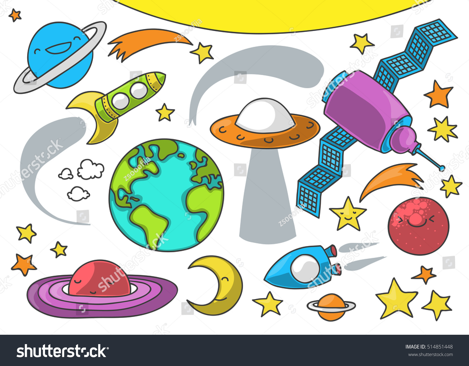 Cute Illustration Outer Space Related Elements Stock Vector ...