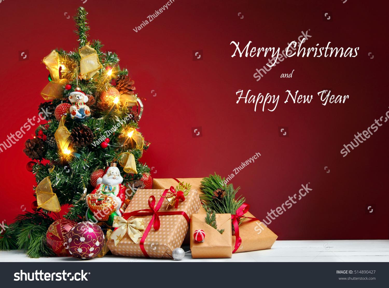 Christmas Greetings Card Christmas Tree Gifts On Stock Photo 100