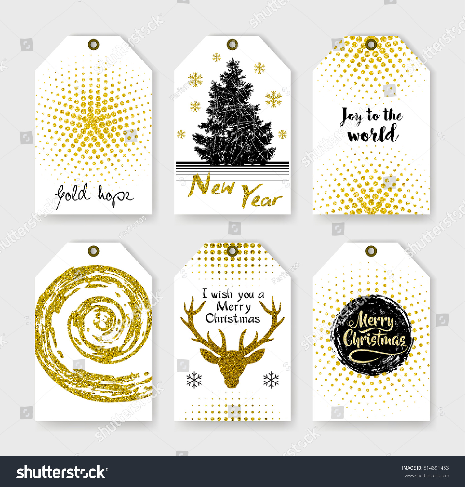 Abstract grunge patterns christmas gift tags stock vector