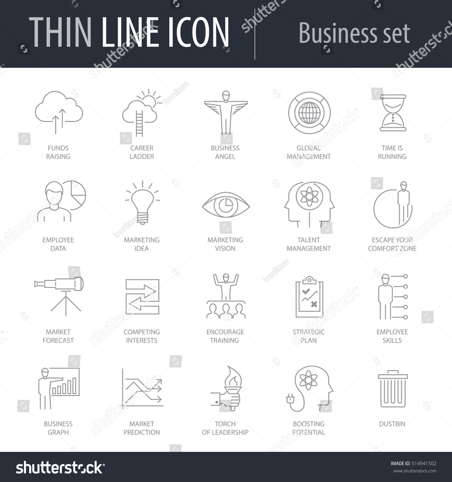 Icons Set Business Number Five Symbol Stock Vector 514941502