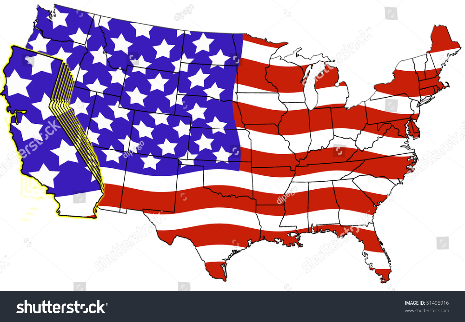 Usa Map California Highlighted Flag Color Stock Illustration - Usa road map california