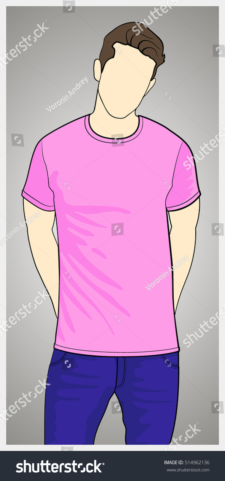 White t shirt eps - T Shirt Template Front View On The Man Man Body Silhouette Pink Color