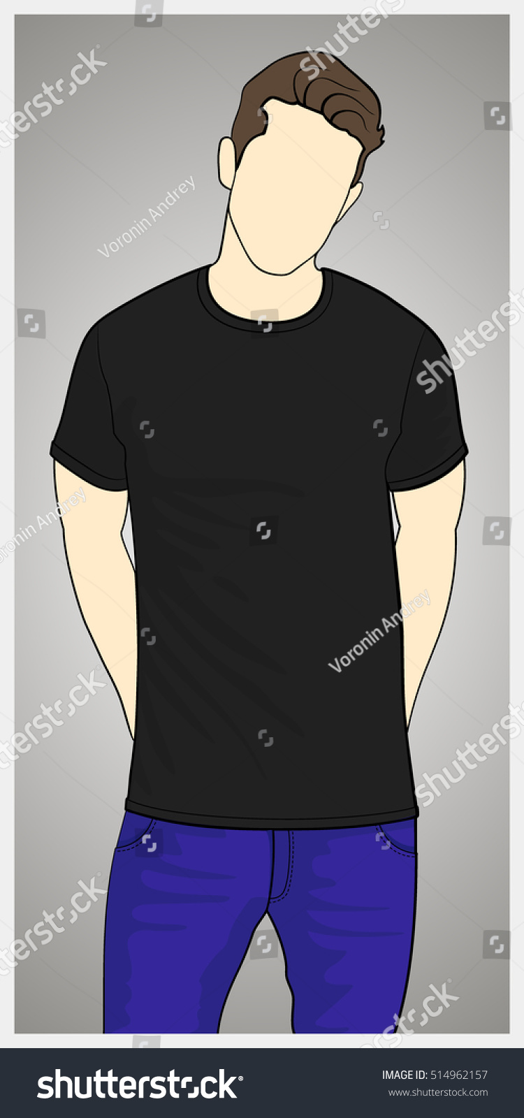Black t shirt vector - T Shirt Template Front View On The Man Man Body Silhouette Black Color