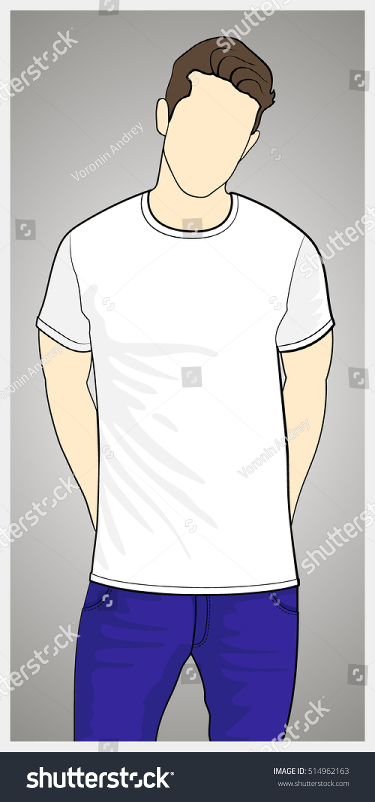White t shirt eps - T Shirt Template Front View On The Man Man Body Silhouette White Color