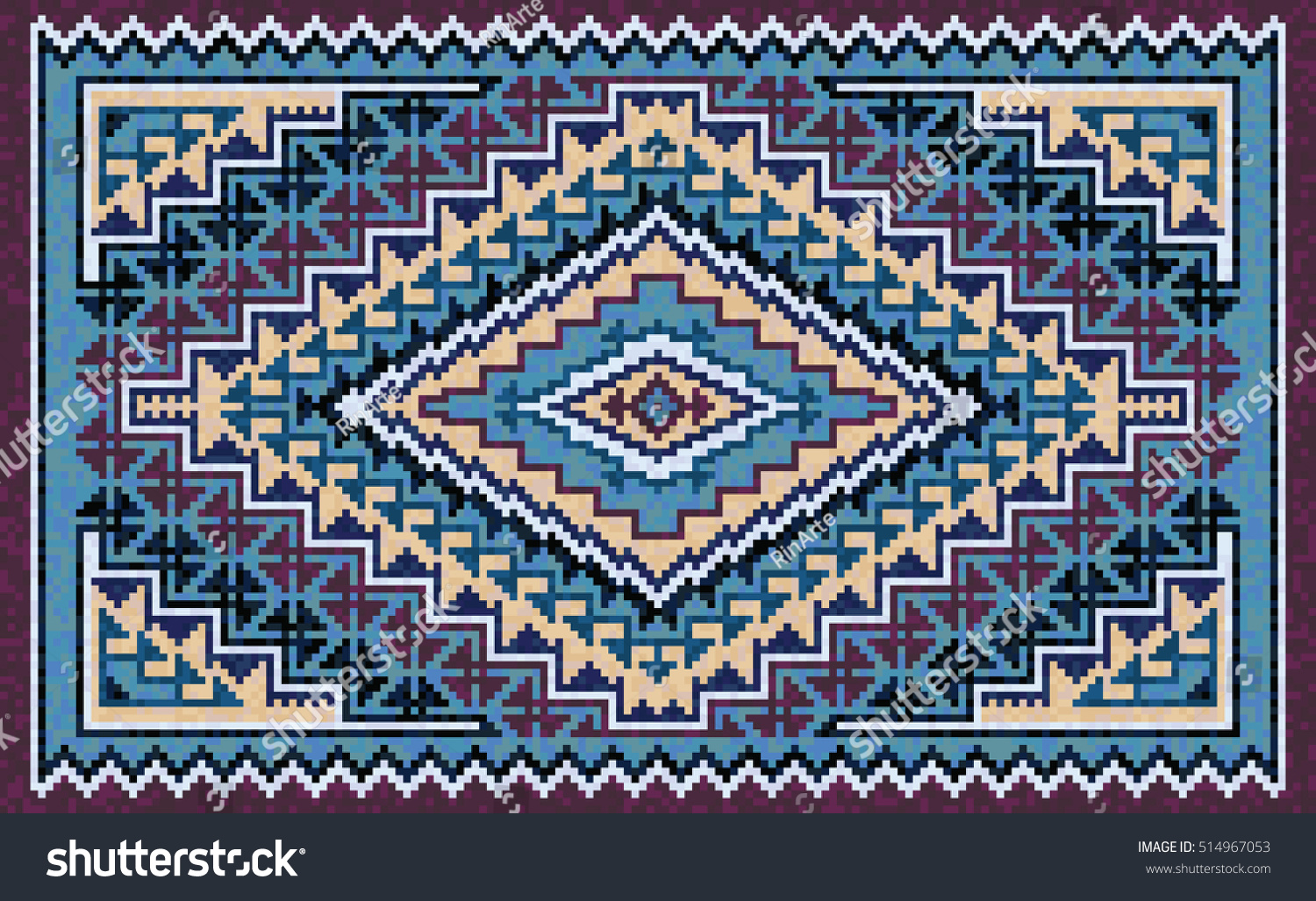 navajo rug patterns. Colorful Mosaic Navajo Rug With Traditional Folk Geometric Pattern. Native American Indian Blanket Patterns