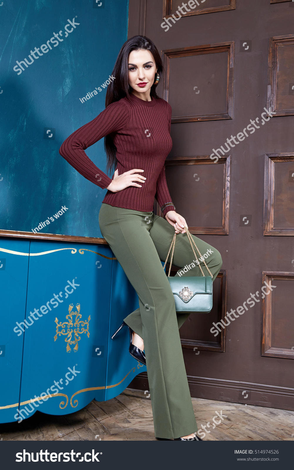 82aab18904d49 Beautiful sexy woman brunette hair wear wool sweater silk pants fashion  clothes business style for office