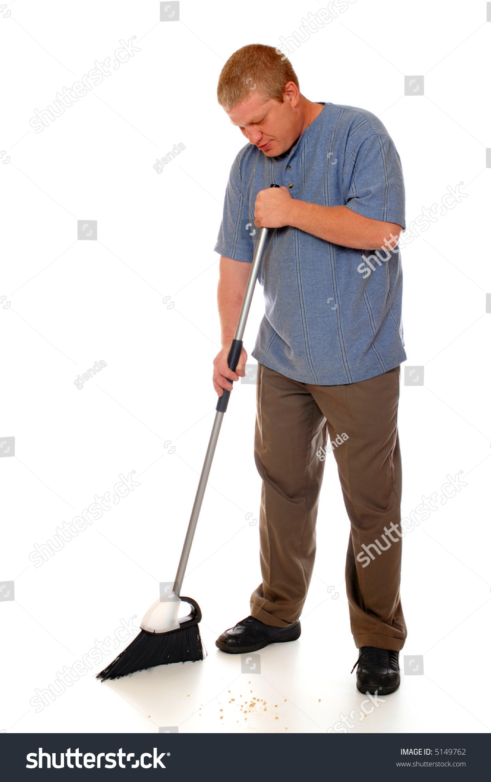 Man sweeping the floor with a home broom isolated on for To floor someone